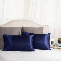 TWO-Pack Satin Pillowcases Set for Hair COOL and EASY TO WASH Standard 20×30 Navy Blue with ...
