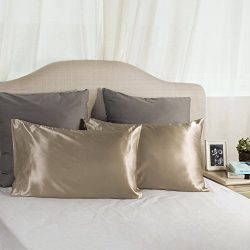 TWO-Pack Satin Pillowcases Set for Hair COOL and EASY TO WASH Standard 20×30 Camel with Env ...