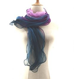 Jiao Miao Women's Solid Color 3 layers Silk Long Scarf,170111-27