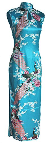 7Fairy Women's Silk Turquoise Keyhole Peacock Long Chinese Dress Size 2 US