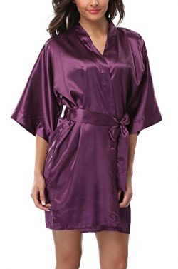 ABC-STAR Women Short Satin Kimono Robes for Wedding Bridal Party Bridesmaid Gift, Purple, XL