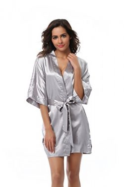 VogueBridal Women's Solid Color Short Kimono Robe, Silver S
