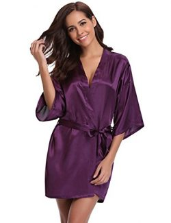 Aibrou Women's Kimono Robes Satin Pure Colour Short Style with Oblique V-Neck Robe