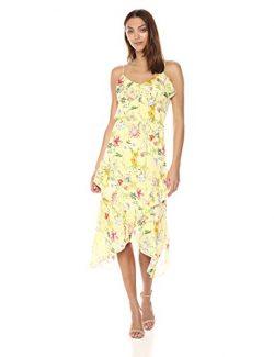 Parker Women's Vanna Spaghetti Strap Ruffle Midi Length Silk Dress, Spring Sangria, S