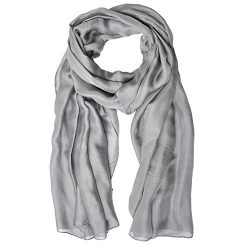 LO SHOKIM Women Solid Color Lightweight Breathable Scarves 75″x35″ Chiffon Imitated  ...