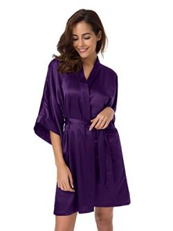 SIORO Womens Kimono Robe Bridesmaid Satin Robes Silk Lightweight Nightwear V-Neck Sexy Sleepwear ...