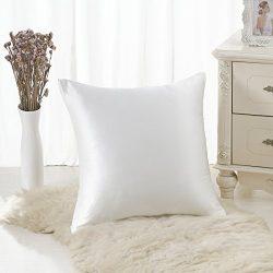 ALASKA BEAR 100% Mulberry Silk Throw Pillowcase,Hypoallergenic, 19 Momme, 600 Thread Count, Squa ...