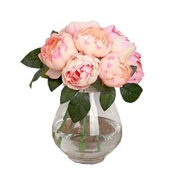 1Bouquet 6 Heads Artificial Peony Silk Flower,FUNIC Fake Flowers Home Wedding Party Decor (Beige)