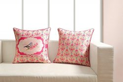 Digitally Printed Bird & Multi-Design Cushion Covers – Faux Silk Fabric – Revers ...