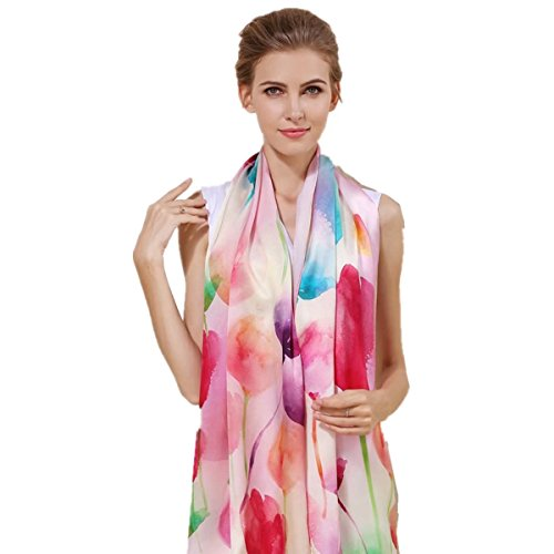 Women's 100% Charmeuse Mulberry Silk Long Scarf For Gift Hair Ladies Shawls Floral And But ...