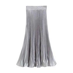 creativity8 Vintage Pleat Maxi Long Skirt Women's Shiny Metallic Silk Bright Pleated Skirt ...