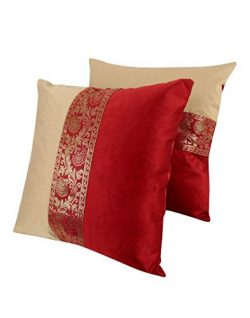 Home Decorative Pillow Case 16 x 16 Set of Two Cushion Covers Bedroom Living Room Polyester Cush ...