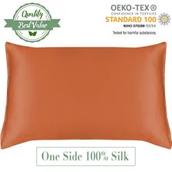 MYK 100% Pure Natural Mulberry Silk Pillowcase, 19 Momme with Cotton underside for Hair & Fa ...