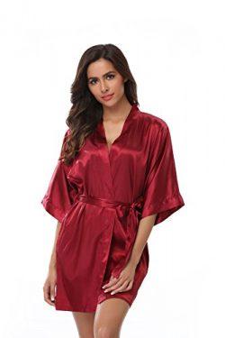 VogueBridal Women's Solid Color Short Kimono Robe, Wine M