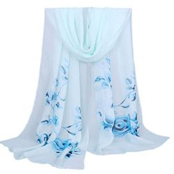 Chiffon Scarf,Han Shi Stylish Women Soft Wrap Shawl Silk Voile Scarf Headscarf Muffler (L, Blue)