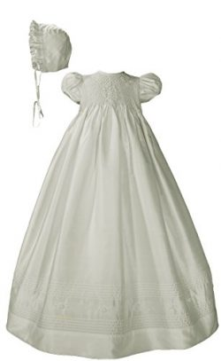 Little Things Mean A Lot Girls White Silk Dress Christening Gown Baptism Gown with Smocked Bodice 6M