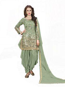 New Indian Ethnic Designer Colored Green Taffeta Silk Salwar Suit Dress Material