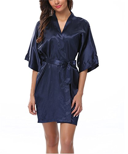 FADSHOW Women's Pure Color V Neck Kimono Robes Soft Bathrobes,Navy