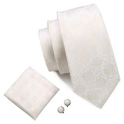 Barry.Wang Solid Color White Ties Silk Wedding Groom Tie Set