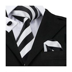 Hi-Tie Mens Black White Striped Woven Silk Tie Hanky Cufflinks set