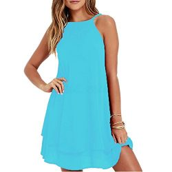 HGWXX7 Women Summer Casual Plus Size Solid Chiffon Strap Beach A-Line Mini Dress (S, Blue)