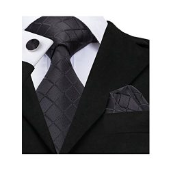 Hi-Tie Fashion Black Tie Handkerchief Cufflinks set Woven Silk Necktie for Men (new plaid)