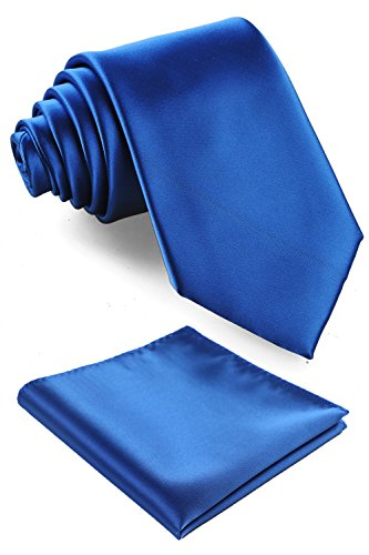 Fortunatever Classical Men's Solid Necktie With Gift Box+Pocket Square (Royal Blue)