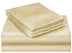 ELAINE KAREN Soft Silky Satin Queen Bed Sheet Set, Beige