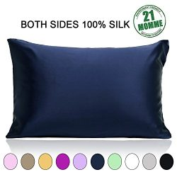 100% Pure Mulberry Slip Silk Pillowcase Standard Size 21 Momme 600 Thread Count for Hair and Ski ...