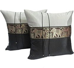 Cozymomo One Pair Black Big Elephant Stripe Throw Cushion Cover/Pillow Case Thai Silk for Decora ...