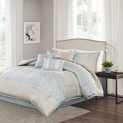 Madison Park Bennett Cal King Size Bed Comforter Set Bed In A Bag – Pale Aqua, Taupe, Jacq ...