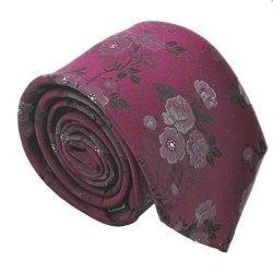 Qobod Classic Men's Tie silk Necktie Woven JACQUARD Neck Ties gift box red wine flower