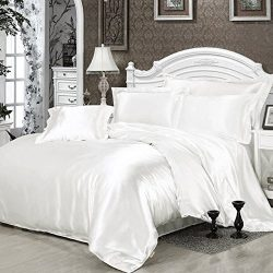 Fanatical Purchase FP 4pcs Silk Sheet Set Queen King Size Satin Solid Color Bedding Set with Dee ...