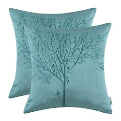 Pack of 2 CaliTime Cushion Covers Throw Pillow Cases Shells for Home Sofa Couch, Natural Tree Em ...
