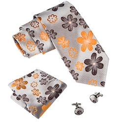 Barry.Wang Orange Ties Necktie Hanky Cufflinks Set Woven Business Tie