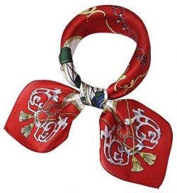 corciova Women 100% Mulberry Silk Neck Scarf Small Square Scarves Neckerchiefs Venetian Red Carr ...