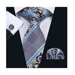 Dubulle Ties Set for Men with Pocket Square Cufflinks Necktie Tie Set Fashion Paisley Tie Classi ...