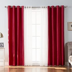 Best Home Fashion Tulle Lace & Faux Silk Blackout Curtain Set – Stainless Steel Nickel Gromm ...