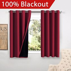 Flamingo P Full Blackout Cardinal Curtains Faux Silk Satin with Black Liner Thermal Insulated Wi ...
