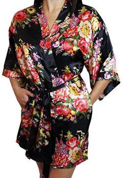 Women's Satin Floral Kimono Short Bridesmaid Robe W/ Pockets – Black M/L