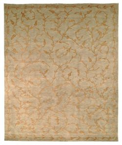 Safavieh Tibetan Collection TB321A Hand-Knotted Green and Gold Silk & Wool Area Rug (8&#8242 ...