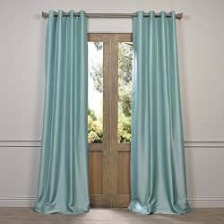 Half Price Drapes PTCH-BO5-96-GR Grommet Blackout Faux Silk Taffeta Curtain, Robin's Egg