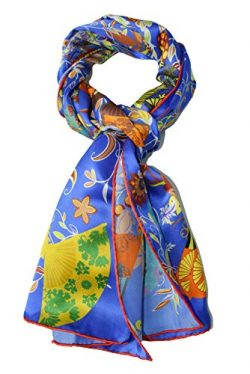 ELEGNA Women 100% Silk Art Collection Scarves Long Shawl Hand Rolled Edge (A-Blue fan)