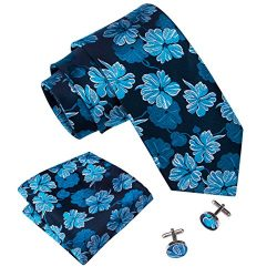 Barry.Wang Blue Tie Set Pocket Square Cufflinks Floral Neckties