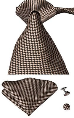 Hi-Tie Mens Brown Plaids Silk Tie Hanky Cufflinks set (Brown)
