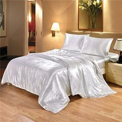Luxury Classic Silky Satin 3-Piece Duvet Cover Set with 2 Envelope Pillowcases – Premium U ...