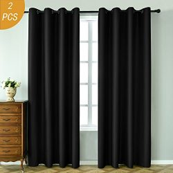 HOLKING 1 Pair New Tech Faux Silk Thermal Insulated Solid Grommet Blackout Curtains Panels 84 in ...