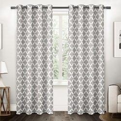 Exclusive Home Curtains Neptune Cotton Grommet Top Window Curtain Panel Pair, Cloud Grey, 54×96