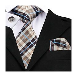 Barry.Wang Tan Ties for Men Set Plaid Check Necktie Set Handkerchief Cufflinks