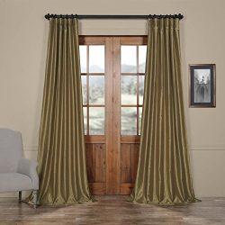 Half Price Drapes PDCH-KBS19-108 Vintage Textured Faux Dupioni Silk Curtain, 50 x 108, Warm Stone